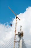 Pylon of the bridge. Pylon of the new bridge over river Sava in Belgrade under construction Royalty Free Stock Photo