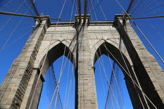 The pylon of Brooklyn Bridge Royalty Free Stock Photos
