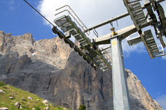 Pylon of the cable car and Sassolungo Stock Photo