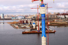 Pylon cable stayed bridge under construction the Gulf of Finland Royalty Free Stock Image