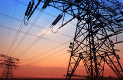 Pylon. The evening of the pylon outline, is very beautiful stock photos