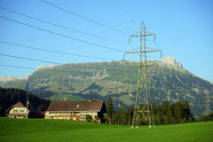 Pylon and farm Royalty Free Stock Photo