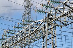 Pylon of the high voltage electric cables in power station Royalty Free Stock Images