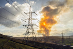 Pylon and pollution Royalty Free Stock Images