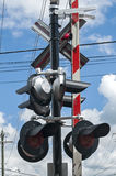 Pylon with railway traffic lights Stock Photography