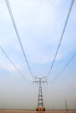 The pylon in the River. The pylon in the middle of the Yellow River and electricity lines over the flowing water stock photos