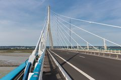 Highway at Pont de Normandie, French bridge over river Seine Royalty Free Stock Photo
