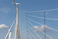 Pylon with steel cables from French bridge Pont de Normandie Stock Images