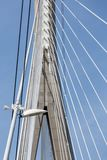 Pylon with steel cables from French bridge Pont de Normandie Royalty Free Stock Photos