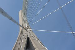 Pylon with steel cables from French bridge Pont de Normandie Royalty Free Stock Photography