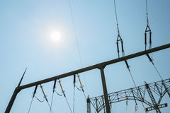 Pylon with sun Royalty Free Stock Image