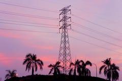 Pylon tower sunset. Pylon tower at twilight time Royalty Free Stock Image