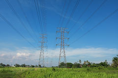 Pylon towers. High voltage electrical transmission line tower 500kV Royalty Free Stock Photo