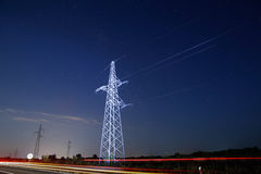 Pylon and traffic Royalty Free Stock Image