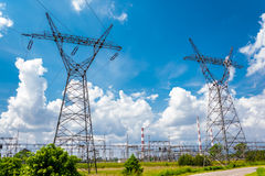 Pylon and transmission power line Stock Images