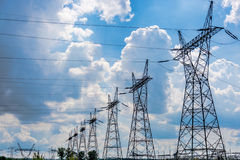 Pylon and transmission power line Royalty Free Stock Photography