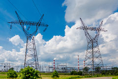 Pylon and transmission power line Stock Photo