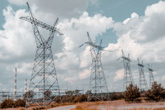 Pylon and transmission power line Stock Photos
