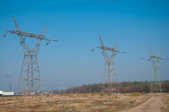 Pylon and transmission power lines Royalty Free Stock Photos