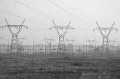 Pylons and transmission power lines Stock Photography