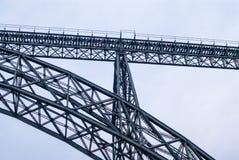 Pylon truss of grey railway arch bridge. Royalty Free Stock Image