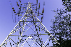 Pylon (2). A view of an electricity pylon from the base Stock Image