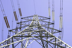 Pylon. A view of an electricity pylon from the base Royalty Free Stock Images
