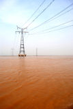 The pylon in the Yellow River Royalty Free Stock Images