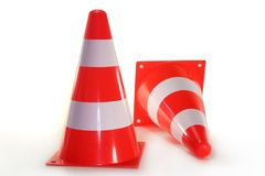 Pylone. Two pylons in front of white background Royalty Free Stock Photo