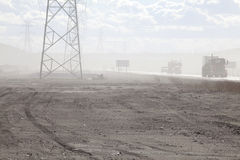 Pylons along roadside, Alberta, Canada Stock Image