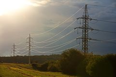 Pylons in countryside Stock Photos