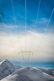 Pylons covered with snow Royalty Free Stock Images