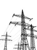 Pylons. Electric pylons isolated on white background Stock Photo