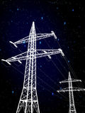 Pylons. Electric pylons under the stars Royalty Free Stock Photos