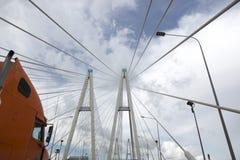 Pylons of the Greater Obukhovsky Bridge over the Neva River in St. Petersburg. St. Petersburg, Russia - August 12, 2018: Pylons of the Greater Obukhovsky Bridge stock images