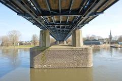 Pylons of highway bridge over river Stock Images