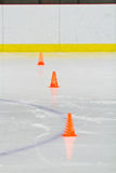 Pylons on the ice in an arena Royalty Free Stock Image