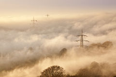 Pylons in the mist Stock Images