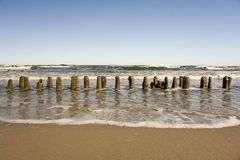 Pylons at the ocean. Royalty Free Stock Images