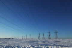 Pylons over a blue sky Royalty Free Stock Photo