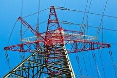 Pylons of a power line Royalty Free Stock Photos