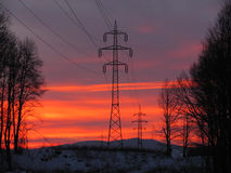 Pylons of power line Stock Photo