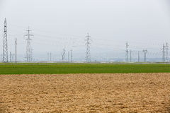 Pylons and power lines Royalty Free Stock Photos