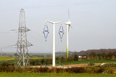 T-Pylons and power production Royalty Free Stock Photography