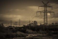 Pylons - sepia tone Stock Photos
