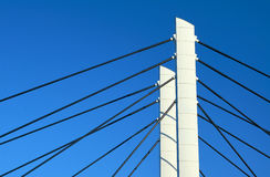 Pylons and steel cable-stayed bridge cables Royalty Free Stock Photo