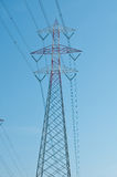 Pylons of steel that are used to carry electrical current silhou Royalty Free Stock Photos