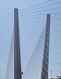 Pylons strung with guys. Detail of the bridge Royalty Free Stock Images