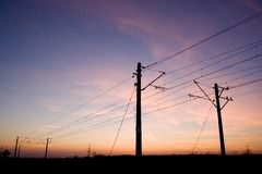 Pylons on sunset Royalty Free Stock Photography