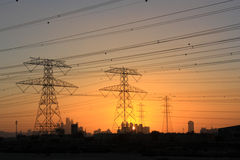 Pylons at sunset Dubai 1 Royalty Free Stock Images